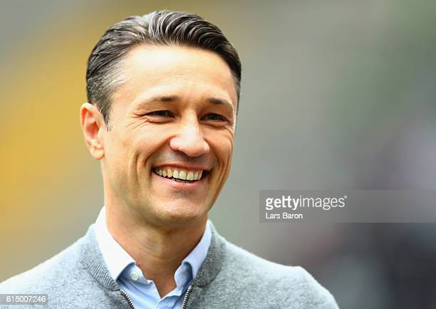 Head coach Nico Kovac of Frankfurt smiles prior to the Bundesliga match between Eintracht Frankfurt and Bayern Muenchen at CommerzbankArena on...
