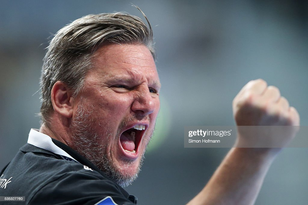 Head coach Nicolaj Jacobsen of Rhein-Neckar Loewen celebrates during the DKB Handball Bundesliga match between Rhein-Neckar Loewen and TSV Hannover-Burgdorf at SAP Arena on May 29, 2016 in Mannheim, Germany.