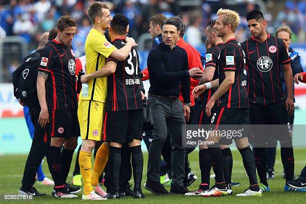 Head coach Niko Kovac and players of Frankfurt celebrate after the Bundesliga match between SV Darmstadt 98 and Eintracht Frankfurt at MerckStadion...