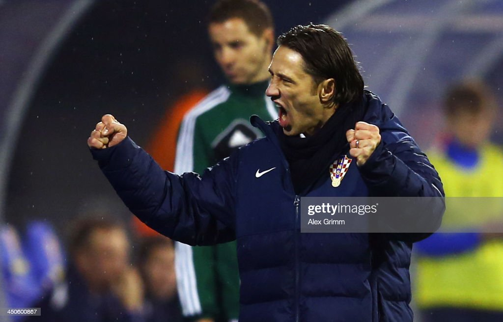 Head coach Niko Kovac of Croatia celebrates after the FIFA 2014 World Cup Qualifier play-off second leg match between Croatia and Iceland at Maksimir Stadium on November 19, 2013 in Zagreb, Croatia.