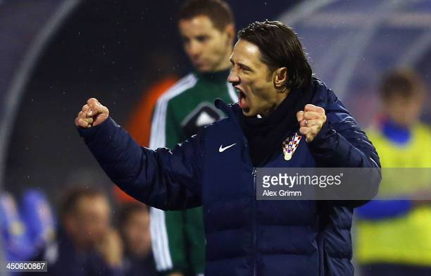 Head coach Niko Kovac of Croatia celebrates after the FIFA 2014 World Cup Qualifier playoff second leg match between Croatia and Iceland at Maksimir...