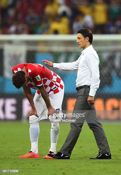Head coach Niko Kovac of Croatia consoles Ivan Rakitic after a 31 defeat in the 2014 FIFA World Cup Brazil Group A match between Croatia and Mexico...