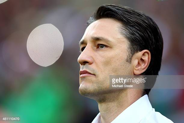 Head coach Niko Kovac of Croatia looks on prior to the 2014 FIFA World Cup Brazil Group A match between Croatia and Mexico at Arena Pernambuco on...