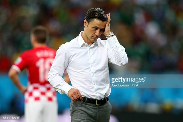 Head coach Niko Kovac of Croatia reacts after the 2014 FIFA World Cup Brazil Group A match between Croatia and Mexico at Arena Pernambuco on June 23...