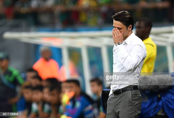 Head coach Niko Kovac of Croatia reacts during the 2014 FIFA World Cup Brazil Group A match between Croatia and Mexico at Arena Pernambuco on June 23...
