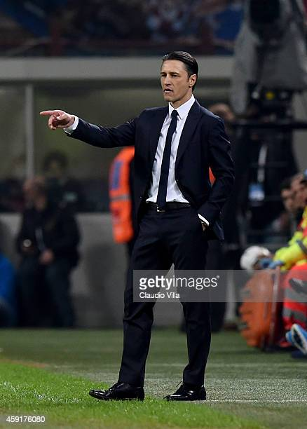 Head coach Niko Kovac of Croatia reacts during the EURO 2016 Group H Qualifier match between Italy and Croatia at Stadio Giuseppe Meazza on November...