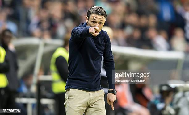 Head coach Niko Kovac of Eintracht Frankfurt reacts during the bundesliga playoff between Eintracht Frankfurt and 1 FC Nuernberg at CommerzbankArena...