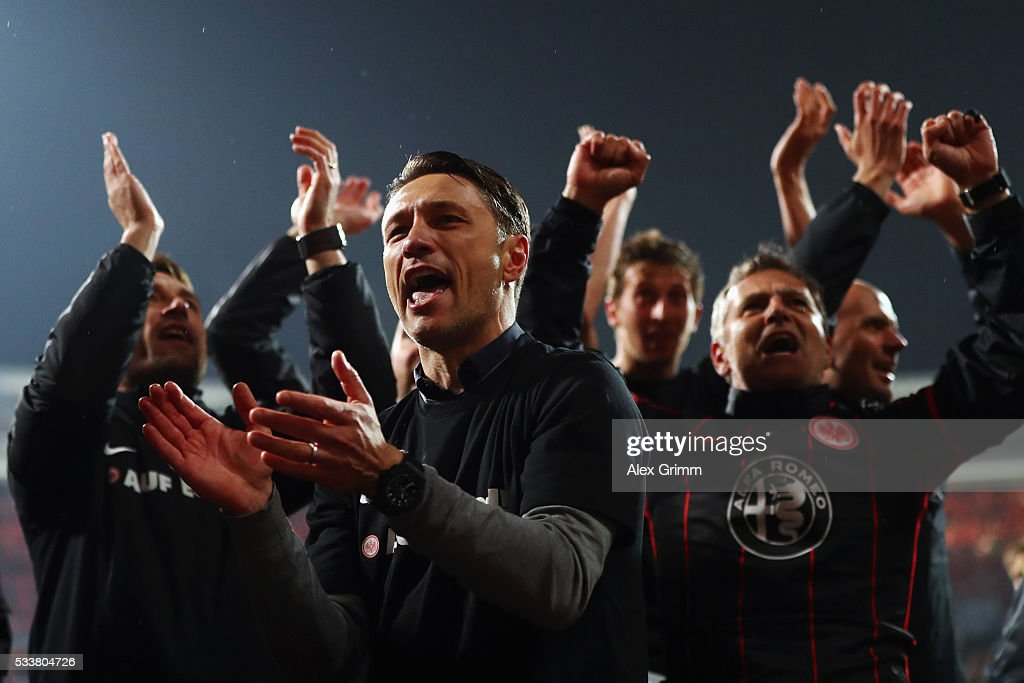 Head coach Niko Kovac of Frankfurt celebrates after the Bundesliga Playoff Leg 2 between 1 FC Nuernberg and Eintracht Frankfurt at GrundigStadion on...