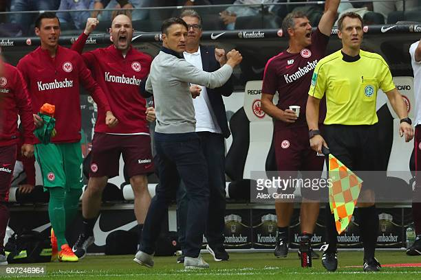 Head coach Niko Kovac of Frankfurt celebrates after the Bundesliga match between Eintracht Frankfurt and Bayer 04 Leverkusen at CommerzbankArena on...