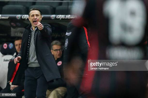 Head coach Niko Kovac of Frankfurt gestures during the Bundesliga match between Eintracht Frankfurt and Hannover 96 at CommerzbankArena on March 19...