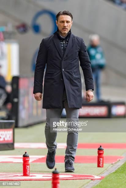 Head coach Niko Kovac of Frankfurt is seen during the Bundesliga match between Eintracht Frankfurt and FC Augsburg at CommerzbankArena on April 22...