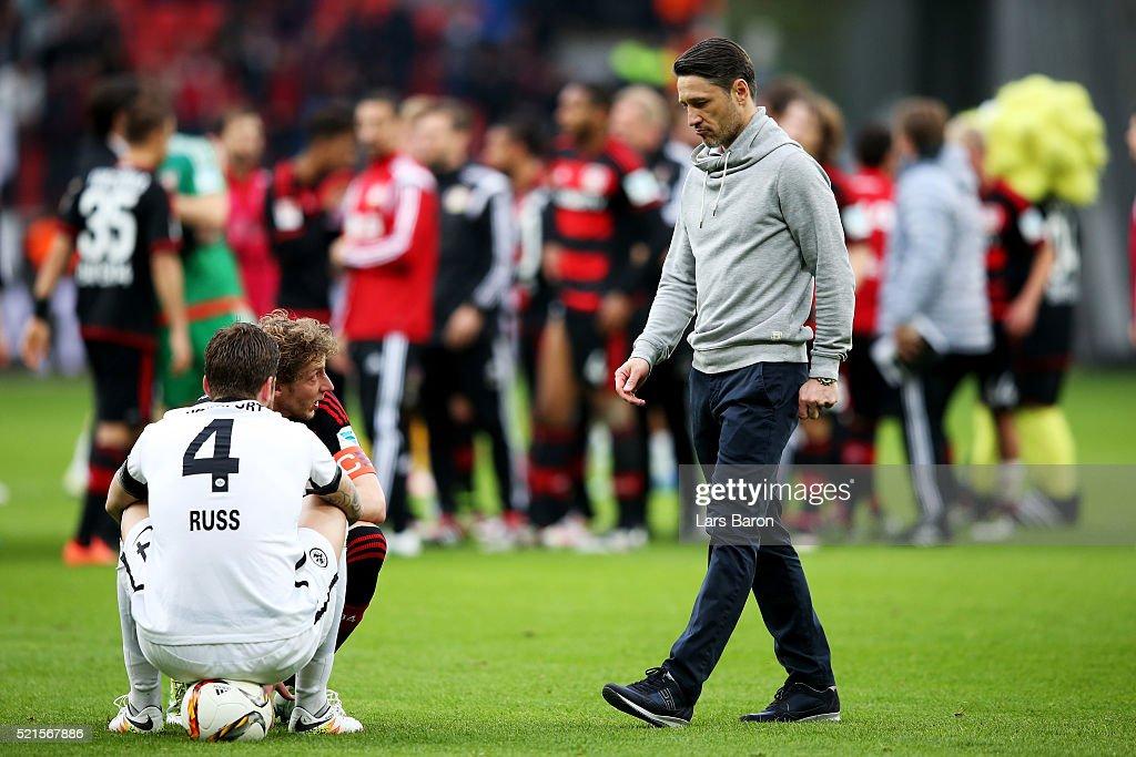 Head coach Niko Kovac of Frankfurt looks dejected next to Marco Russ of Frankfurt after loosing the Bundesliga match between Bayer Leverkusen and...