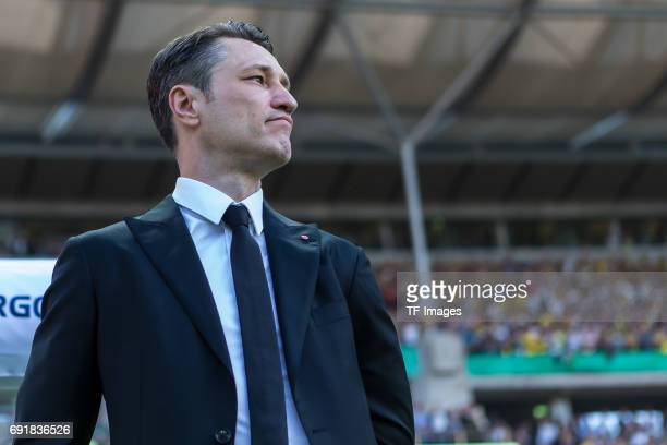 Head coach Niko Kovac of Frankfurt looks on during the DFB Cup final match between Eintracht Frankfurt and Borussia Dortmund at Olympiastadion on May...
