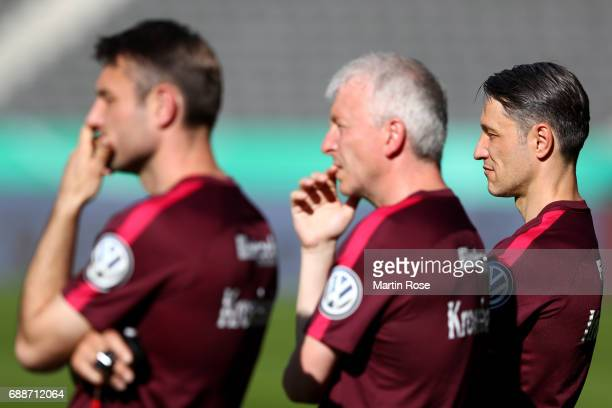 Head coach Niko Kovac of Frankfurt looks on during the Eintracht Frankfurt training session one day before the DFB Cup Final 2017 at Olympiastadion...