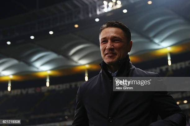 Head coach Niko Kovac of Frankfurt looks on prior to the Bundesliga match between Eintracht Frankfurt and 1 FC Koeln at CommerzbankArena on November...
