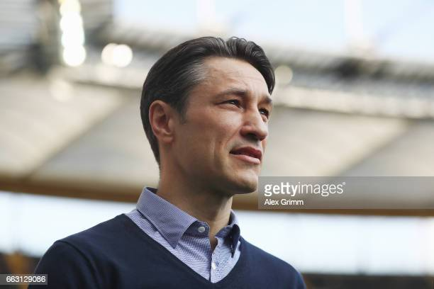Head coach Niko Kovac of Frankfurt looks on prior to the Bundesliga match between Eintracht Frankfurt and Borussia Moenchengladbach at...
