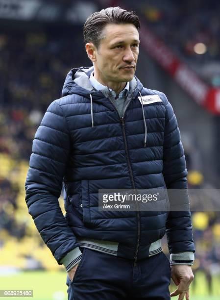 Head coach Niko Kovac of Frankfurt looks on prior to the Bundesliga match between Borussia Dortmund and Eintracht Frankfurt at Signal Iduna Park on...