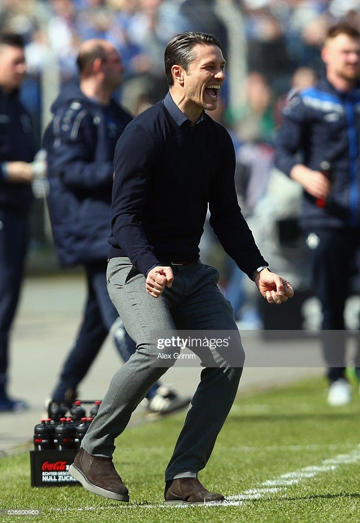 Head coach Niko Kovac of Frankfurt reacts during the Bundesliga match between SV Darmstadt 98 and Eintracht Frankfurt at Merck-Stadion am Boellenfalltor on April 30, 2016 in Darmstadt, Hesse.