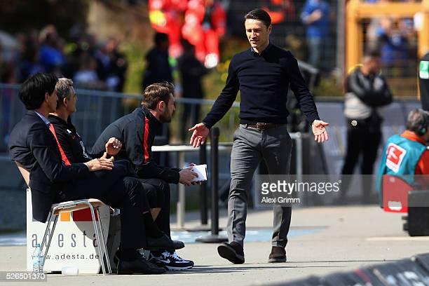 Head coach Niko Kovac of Frankfurt reacts during the Bundesliga match between SV Darmstadt 98 and Eintracht Frankfurt at MerckStadion am...