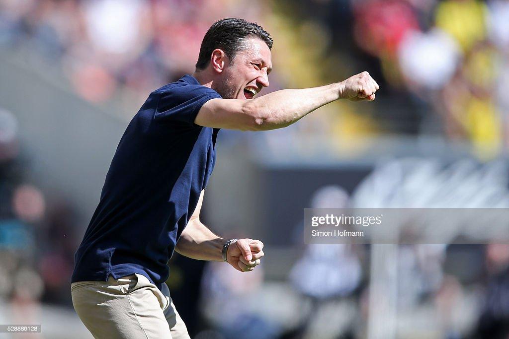 Head coach Niko Kovac of Frankfurt reacts during the Bundesliga match between Eintracht Frankfurt and Borussia Dortmund at CommerzbankArena on May 07...