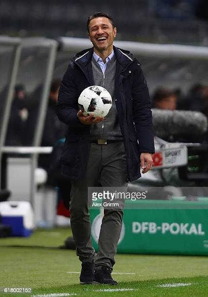 Head coach Niko Kovac of Frankfurt reacts during the DFB Cup Second Round match between Eintracht Frankfurt and FC Ingolstadt at CommerzbankArena on...