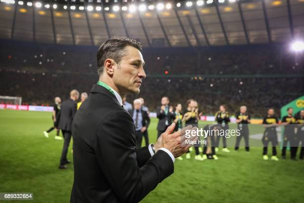 Head coach Niko Kovac of Frankfurt reacts during the medal ceremony after the DFB Cup final match between Eintracht Frankfurt and Borussia Dortmund...