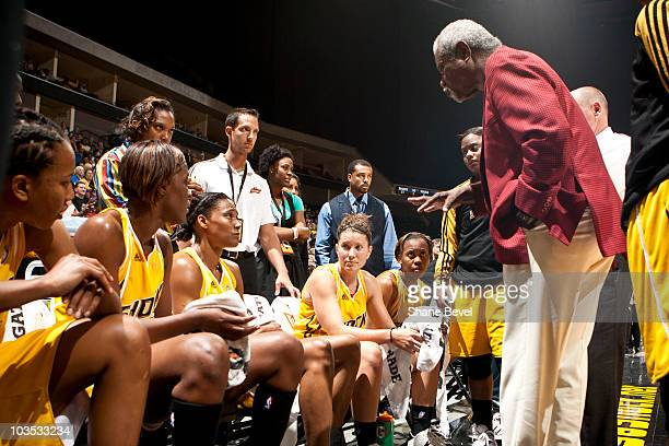 Head coach Nolan Richardson of the Tulsa Shock talks to his team on the bench during the final minutes of the WNBA game on August 21 2010 at the BOK...
