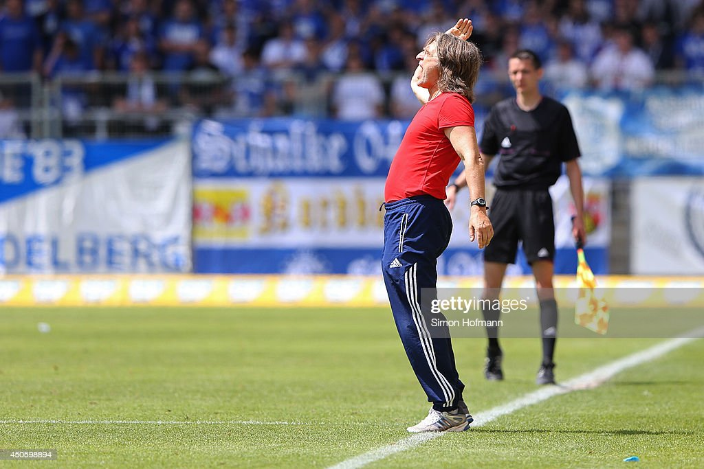 Head coach Norbert Elgert of Schalke reacts during the A Juniors Bundesliga Semi Final between 1899 Hoffenheim and FC Schalke 04 at Dietmar Hopp-Stadium on June 14, 2014 in Hoffenheim, Germany.