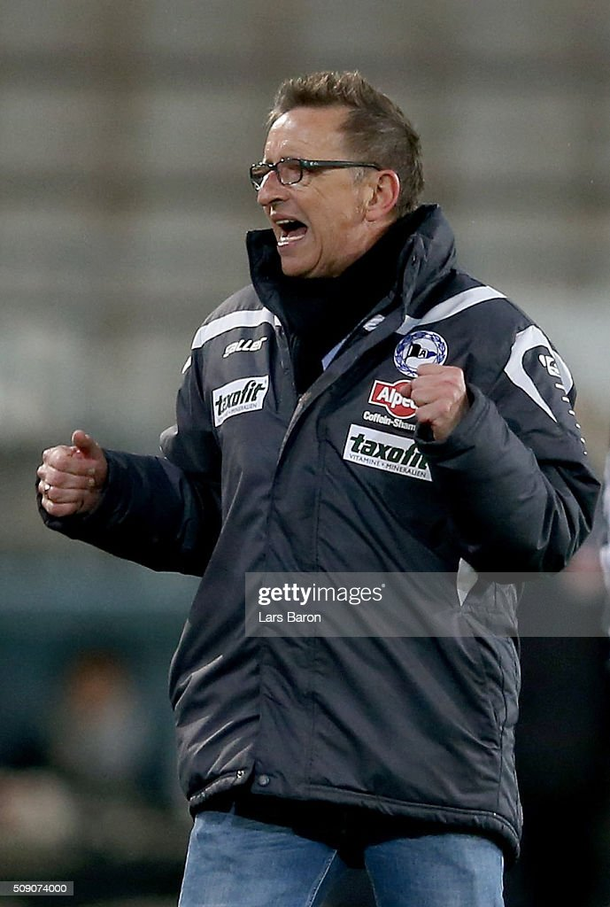 Head coach <a gi-track='captionPersonalityLinkClicked' href=/galleries/search?phrase=Norbert+Meier&family=editorial&specificpeople=811497 ng-click='$event.stopPropagation()'>Norbert Meier</a> of Bielefeld celebrates after winning the Second Bundesliga match between Arminia Bielefeld and MSV Duisburg at Schueco Arena on February 8, 2016 in Bielefeld, Germany.