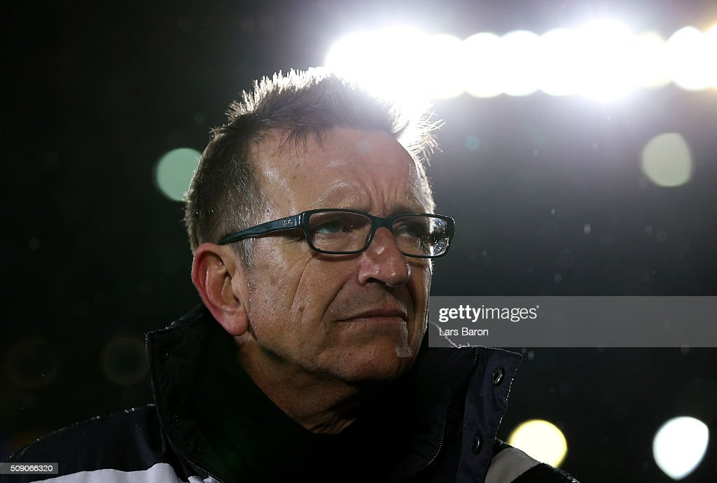 Head coach <a gi-track='captionPersonalityLinkClicked' href=/galleries/search?phrase=Norbert+Meier&family=editorial&specificpeople=811497 ng-click='$event.stopPropagation()'>Norbert Meier</a> of Bielefeld looks on prior to the Second Bundesliga match between Arminia Bielefeld and MSV Duisburg at Schueco Arena on February 8, 2016 in Bielefeld, Germany.