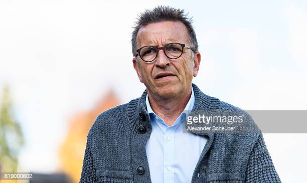 Head coach Norbert Meier of Darmstadt is seen prior to the Bundesliga match between SV Darmstadt 98 and RB Leipzig at Stadion am Boellenfalltor on...