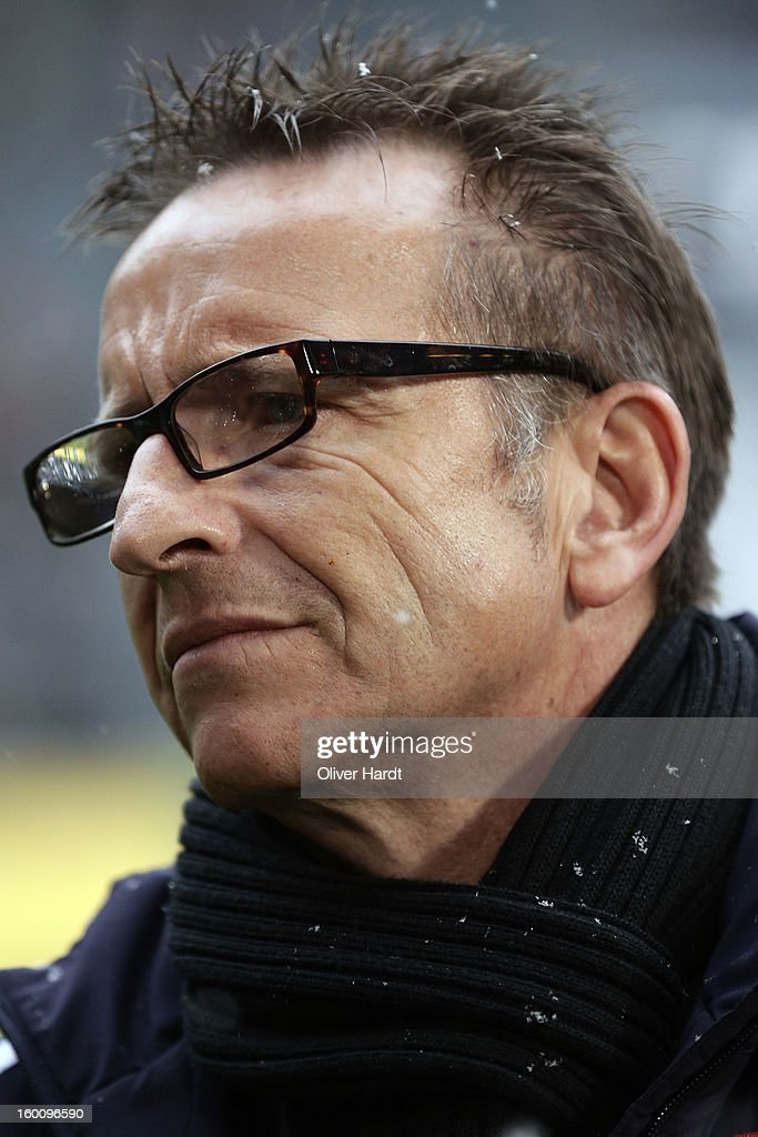 Head coach <a gi-track='captionPersonalityLinkClicked' href=/galleries/search?phrase=Norbert+Meier&family=editorial&specificpeople=811497 ng-click='$event.stopPropagation()'>Norbert Meier</a> of Duesseldorf looks on before at Bundesliga match between VfL Borussia Moenchengladbach v Fortuna Duesseldorf at Borussia Park Stadium on January 26, 2013 in Moenchengladbach, Germany.