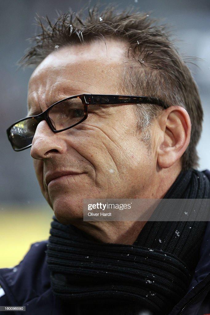 Head coach Norbert Meier of Duesseldorf looks on before at Bundesliga match between VfL Borussia Moenchengladbach v Fortuna Duesseldorf at Borussia Park Stadium on January 26, 2013 in Moenchengladbach, Germany.