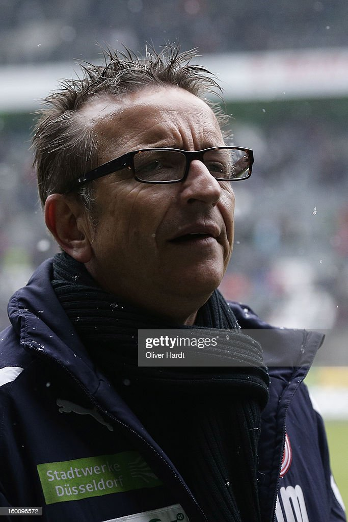 Head coach Norbert Meier of Duesseldorf looks on prior the Bundesliga match between VfL Borussia Moenchengladbach v Fortuna Duesseldorf at Borussia Park Stadium on January 26, 2013 in Moenchengladbach, Germany.