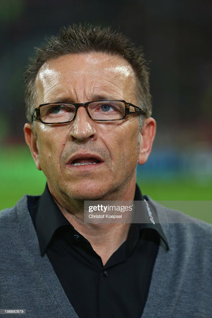Head coach Norbert Meier of Duesseldorf looks on prior to the Bundesliga match between Fortuna Duesseldorf and Hamburger SV at Esprit-Arena on November 23, 2012 in Duesseldorf, Germany.