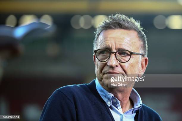Head coach Norbert Meier of Kaiserslautern looks on prior to the Second Bundesliga match between 1 FC Kaiserslautern and Eintracht Braunschweig at...