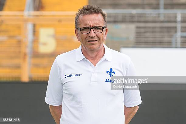 Head coach Norbert Meier poses during the Darmstadt 98 Team Presentation on August 11 2016 in Darmstadt Germany