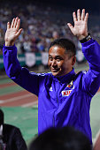 Head Coach Norio Sasaki of Japan celebrates winning after the MSAD Nadeshiko Cup 2015 women's soccer international friendly match between Japan and...