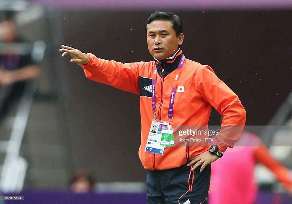 Head coach Norio Sasaki of Japan is pictured during the Women's Football Semi Final match between France and Japan on Day 10 of the London 2012 Olympic Games at at Wembley Stadium on August 6, 2012 in London, England.