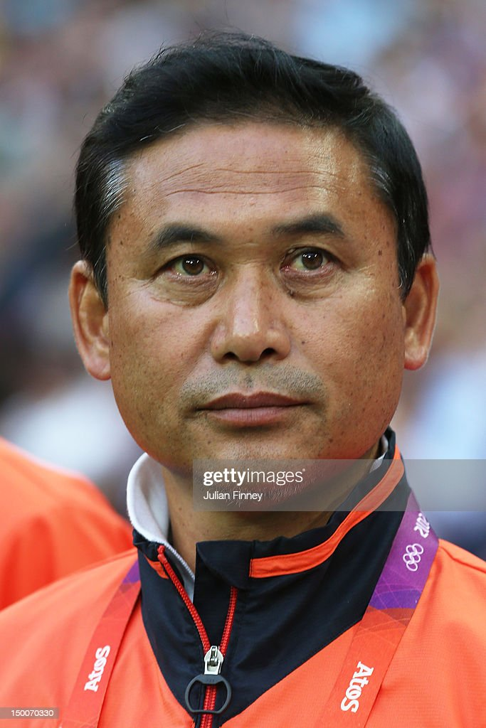 Head coach Norio Sasaki of Japan looks on against the United States during the Women's Football gold medal match on Day 13 of the London 2012 Olympic Games at Wembley Stadium on August 9, 2012 in London, England.