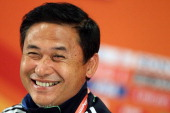 Head coach Norio Sasaki of Japan smiles during the Japan Women's national team press conference at FIFA World Cup Stadium Frankfurt on July 16 2011...