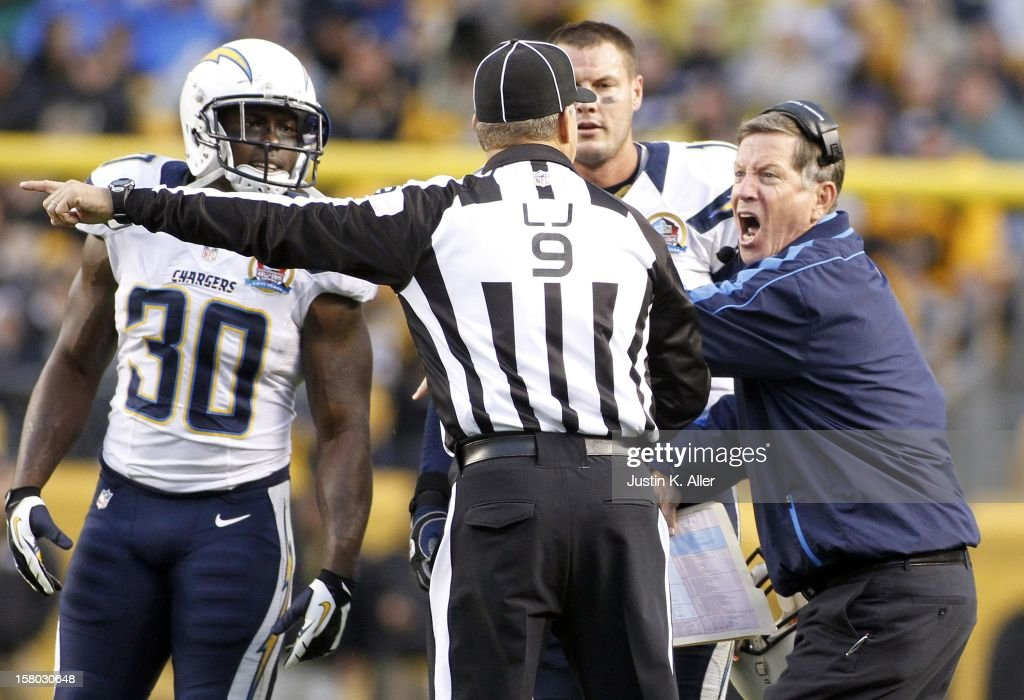 Head coach Norv Turner of the San Diego Chargers argues an intentional grounding call during the game against the Pittsburgh Steelers on December 9, 2012 at Heinz Field in Pittsburgh, Pennsylvania.
