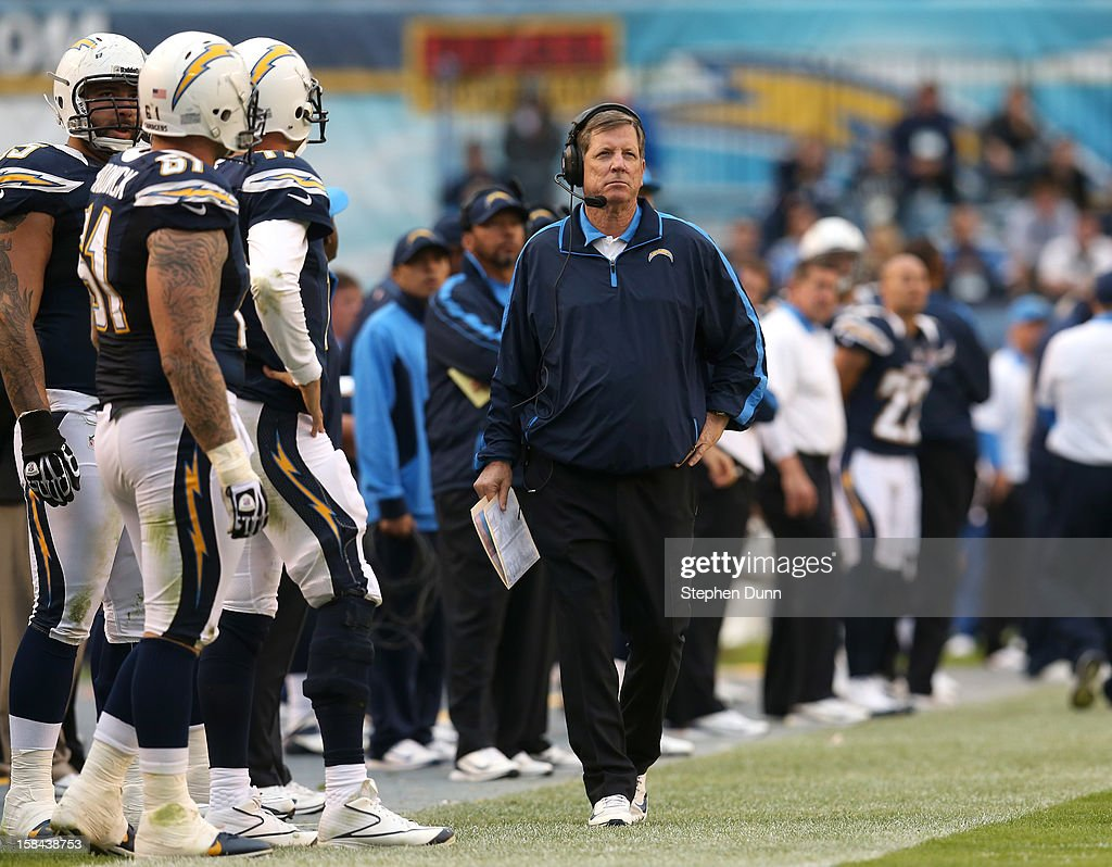 Head coach <a gi-track='captionPersonalityLinkClicked' href=/galleries/search?phrase=Norv+Turner&family=editorial&specificpeople=208101 ng-click='$event.stopPropagation()'>Norv Turner</a> of the San Diego Chargers walks on the sidelines during the game with the Carolina Panthers at Qualcomm Stadium on December 16, 2012 in San Diego, California. The Panthers won 31-7.