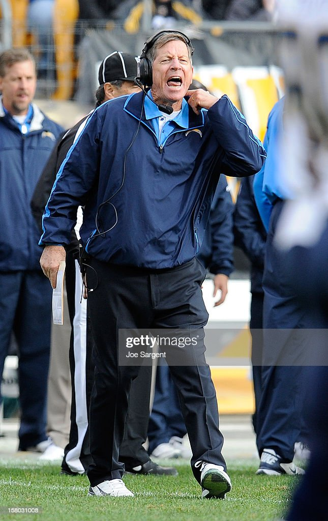 Head Coach Norv Turner of the San Diego Chargers yells at a referee during the game against the Pittsburgh Steelers on December 9, 2012 at Heinz Field in Pittsburgh, Pennsylvania. San Diego won the game 34-24.