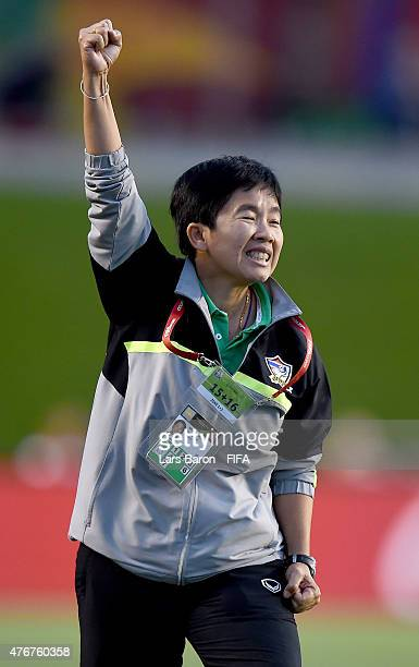 Head coach Nuengrutai Sranthongvian of Thailand celebrates during the FIFA Women's World Cup 2015 Group B match between Cote d'Ivoire and Thailand at...