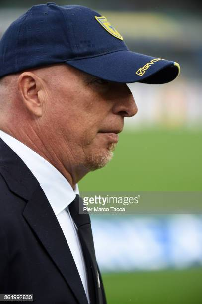 Head Coach of AC Chievo Rolando Maran looks during the Serie A match between AC Chievo Verona and Hellas Verona FC at Stadio Marc'Antonio Bentegodi...