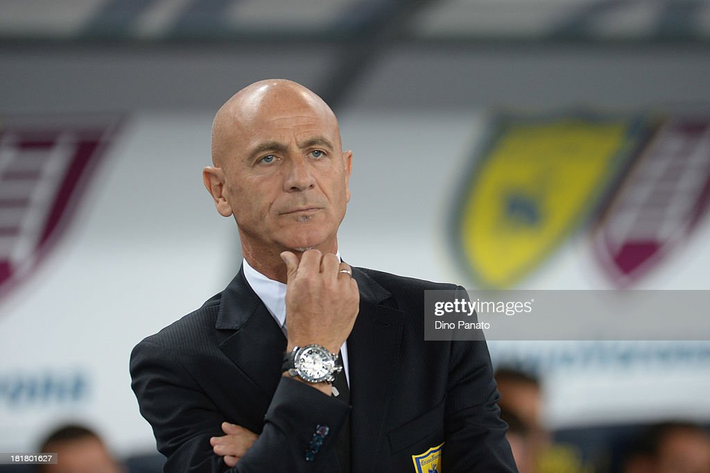 Head coach of AC Chievo VERONA Giuseppe Sannino looks on during the Serie A match between AC Chievo Verona and Juventus at Stadio Marc'Antonio Bentegodi on September 25, 2013 in Verona, Italy.