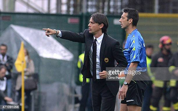 Head coach of AC Milan Filippo Inzaghi issues instructions during the Serie A match between Udinese Calcio and AC Milan at Stadio Friuli on April 25...