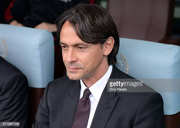 Head coach of AC Milan Filippo Inzaghi looks on during the Serie A match between Udinese Calcio and AC Milan at Stadio Friuli on April 25 2015 in...