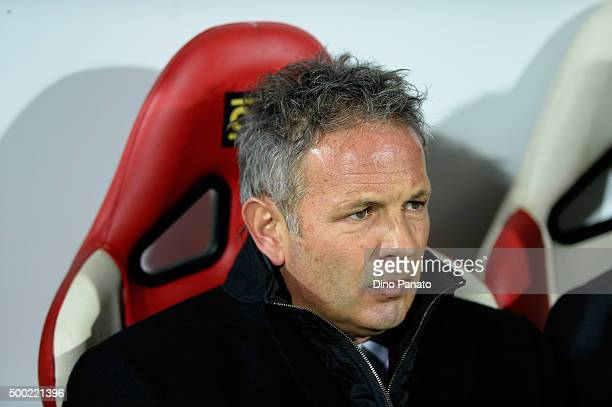 Head coach of AC Milan Sinisa Mihajlovic looks on during the Serie A match between Carpi FC and AC Milan at Alberto Braglia Stadium on December 6...